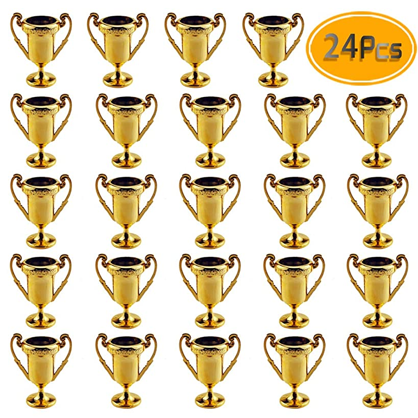 Plastic Trophies – 24 Pack 2.2 Inch Cup Golden Trophies For Children, Competitions, Awards, Parties, Party favors, Props, Rewards, Prizes, Games, School, Field Day, Boys And Girls