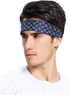 Prettystern Pure Silk Patterned Square Men´s Bandana Neckerchief Head-scarf Blue Dotted No.10