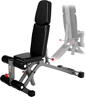 XMark Flat, Incline, and Decline and Ab Combo Adjustable Weight Bench, 7 Positions with Full Decline for Military Press, Dual Rail, 11-Gauge Steel Mainframe, 6-Position Seat, and Adjustable Leg Holder