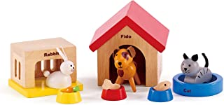 Family Pets Wooden Dollhouse Animal Set by Hape | Complete Your Wooden Dolls House with Happy Dog, Cat, Bunny Pet Set with...
