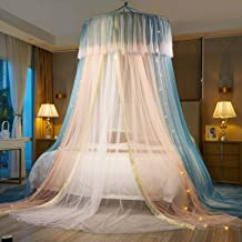 VARWANEO Princess Bed Canopy for Girls,Bed Canopy Curtain- Double Layer Sheer Mesh Dome Bed Curtain- Princess Mosquito Net...