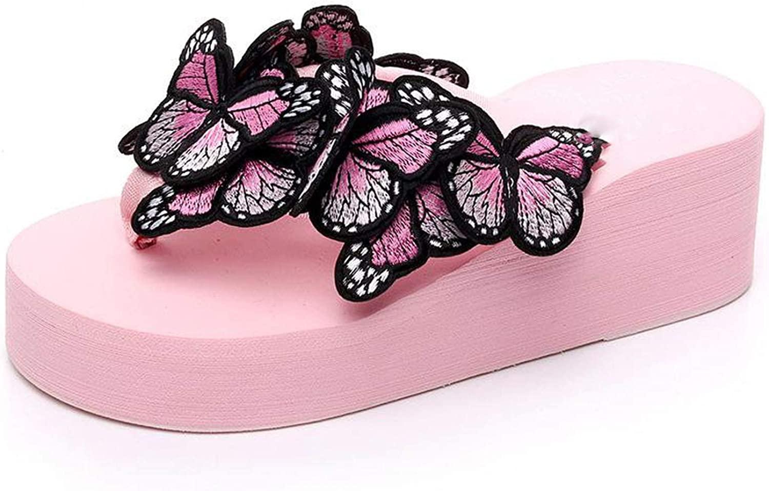 Peony red Woman Slippers Lady Fashion Casual Beach Flip-Flops Sandals 2019 Summer Butterfly Sexy High Heel Slippers Home Slippers Women