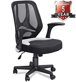 Mysuntown Mid-Back Office Mesh Chair,Task Chair with Adjustable Height & Flip-Up Armrests, Executive Swivel Chair, Black