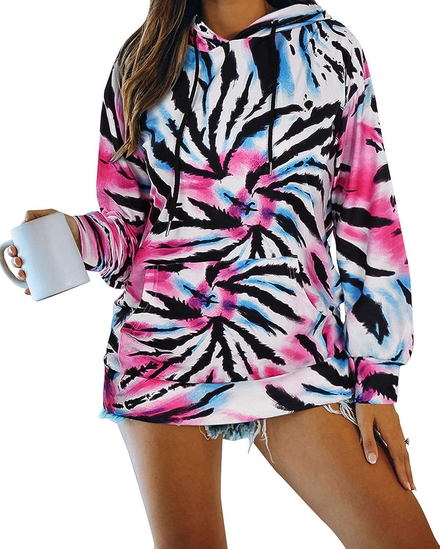 LANISEN Women's Tie Dye Printed Hoodie Sweatshirt Long Sleeve Casual Pockets Loose Pullover Hooded Tops Shirts Blouses
