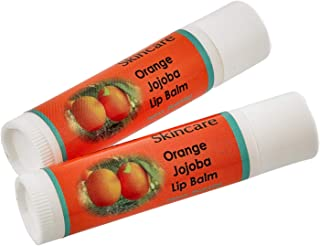 Jojoba Oil Orange Lip Balm with Beeswax, all natural, over 70% cold pressed jojoba oil and mildly scented with Orange, 2 Lip balms (.15 oz/4.6 gm) 2 units