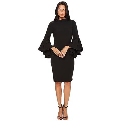 Badgley Mischka Flare Sleeve Roll Collar Dress (Black) Women