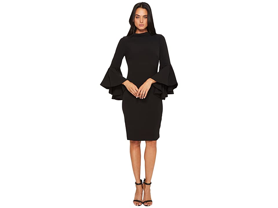 Badgley Mischka Flare Sleeve Roll Collar Dress (Black) Women