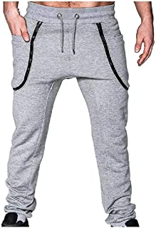 Zimaes Men Elastic Drawstring Full Zip Relaxed Splice Jogging Pants with Belt