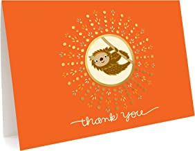 product image for Night Owl Paper Goods Sloth Thank You Cards, Box of 5, Gold Foil