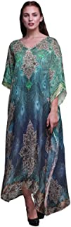 Phagun Peacock Feather Ladies Plus Size Kaftan Summer Wear Beach Coverup Kimono Caftan