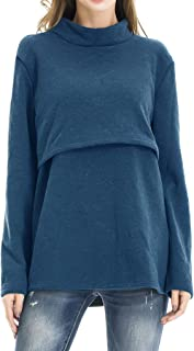 Women's Fleece Nursing Tops Shirts Long Sleeve Breastfeeding Clothes