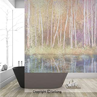 3D Decorative Privacy Window Films,Fall Trees Along with Lake Fall in Jungle Natural Paradise,No-Glue Self Static Cling Glass Film for Home Bedroom Bathroom Kitchen Office 36x48 Inch