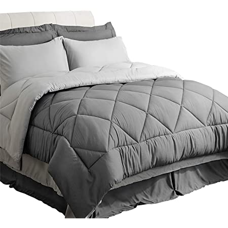 Bedsure King Comforter Sets King Size Comforter Set Comforters for King Bed Grey Bed in A Bag 8 Pieces - 1 Comforter, 2 Pillow Shams, 1 Flat Sheet, 1 Fitted Sheet, 1 Bed Skirt, 2 Pillowcases