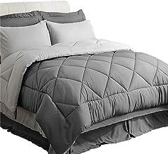 Bedsure Bed in a Bag 8 Pieces Queen Size, Dark Grey/Light Grey - Soft Microfiber, Reversible Bed Comforter Set (1 Comforter, 2 Pillow Shams, 1 Flat Sheet, 1 Fitted Sheet, 1 Bed Skirt, 2 Pillowcases)