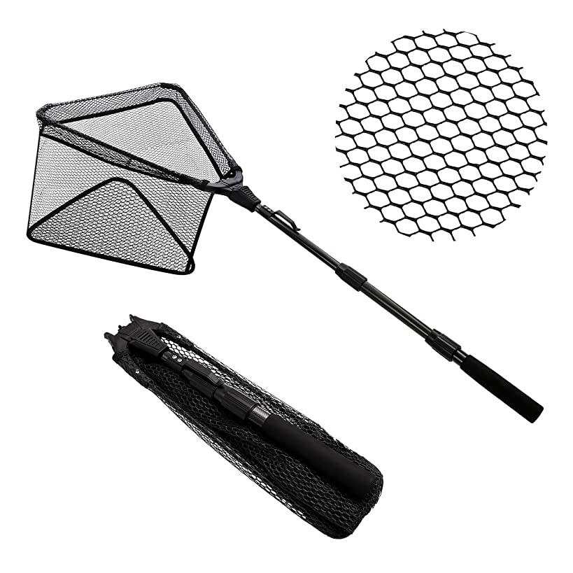 SANLIKE Fishing Net Folding Landing Net,Triangular Fishing Net,Durable Strong Safe Catch and Release Landing Net Fishing Folding Net with Extending Telescoping Pole and Rubber Coated Net(17-43inches)