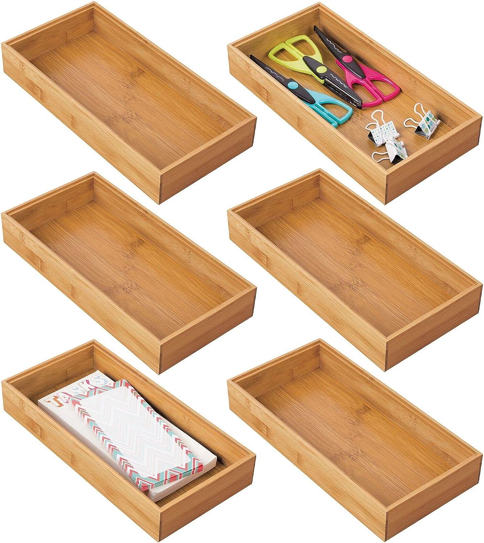 mDesign Juego de 6 cajas organizadoras para escritorios y cajones – Caja rectangular de bambú – Organizador de madera para artículos de oficina y manualidades – color natural