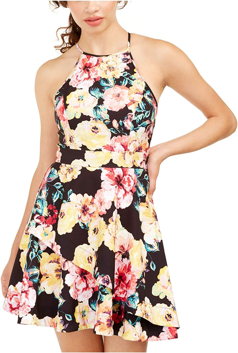Speechless Womens Floral Halter Fit & Flare Dress