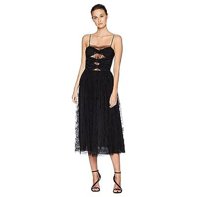 Adam Lippes Silk Crepe Cami Dress w/ Knotted Bodice (Black) Women