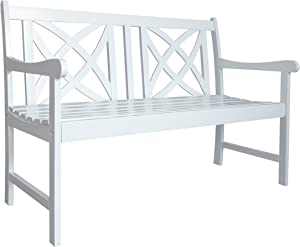 Vifah Bradley Outdoor Patio 4-Foot Wood Garden Bench in White