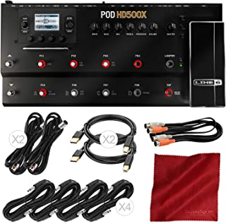 Line 6 POD HD500X Guitar Floor Multi-Effects Pedal with Assorted Cables Bundle