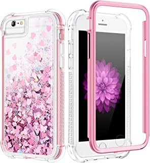 Caka Case for iPhone 6S Plus Glitter Case Bling Liquid Shockproof Women Girls Full Body Heavy Duty Protective Floating Love Glitter Clear Girly Case for iPhone 6 Plus 6S Plus 7 Plus 8 Plus (Rose Gold)