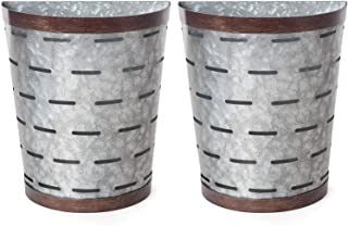 Mkono Galvanized Metal Wall Planter Olive Bucket, 2 Sets Farmhouse Style Hanging Wall Vase Planters for Cotton Stems Succulents or Herbs, Wall Bins for Country Rustic Home Wall Decor