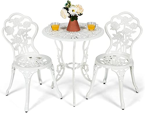 wholesale Giantex wholesale 3 Piece Bistro Set, Cast Aluminum Porch Furniture, Outdoor Patio Dining Table and Chairs popular with Umbrella Hole for Balcony Backyard Garden Poolside (White Rose Pattern) outlet sale