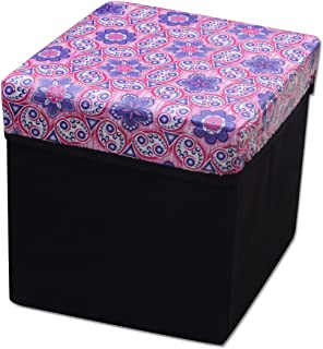Dreams Home Purple Abstract Design Stool / Storage Box / Multipurpose Box / Laundry box/ Organiser