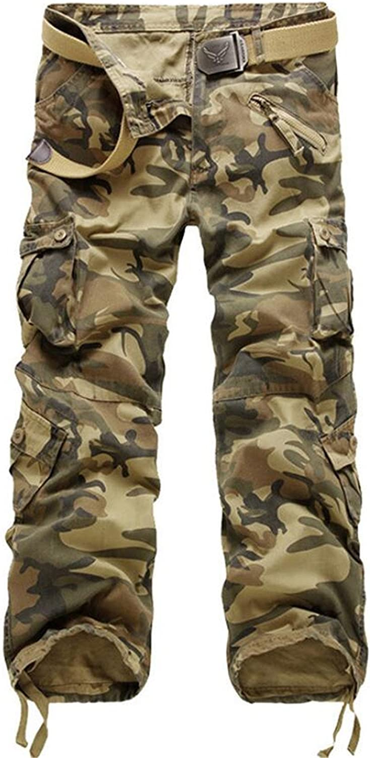 KLJR-Men Camouflage Military Loose Loose Loose Fit Casual Multi-Pocket Cargo Pants 07421c
