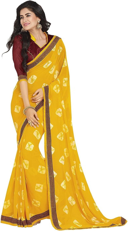 Da Facioun Striking Printed Pallu Saree in Butter Scotch color