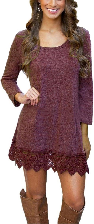 Women's Short Sleeve Pockets Loose T-Shirt Dress Casual Swing Lace Summer Dress
