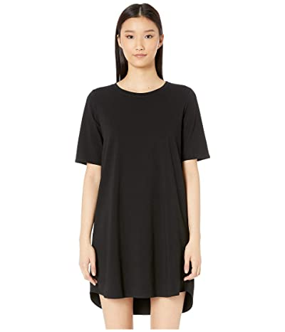 Eileen Fisher Round Neck Elbow Sleeve Knee Length Dress (Black) Women