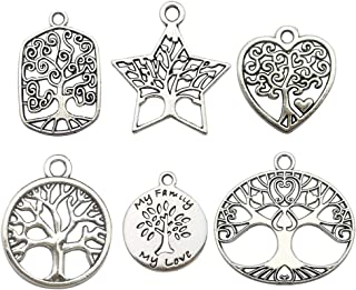 iloveDIYbeads 60pcs Craft Supplies Antique Silver Tree of Life Charms Pendants for Crafting, Jewelry Findings Making Accessory for DIY Necklace Bracelet M147 (Tree of Life)
