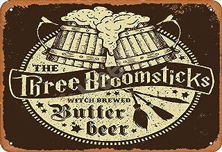 Keely The Three Broomsticks Witch Brewed Butter Beer Metal Vintage Cartel de chapa Decoración de la pared 12x8 pulgadas para Cafe Cafe Bares Restaurantes Pubs Hombre Cueva Decorativa