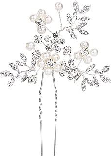 Clearine Women's Wedding Bridal Cream Simulated Pearl Crystal Filigree Leaf Hair Pin Clear Silver-Tone