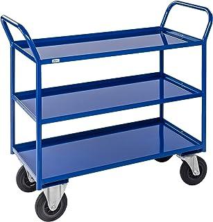 KM 3 plank alle gelaste trolley zwaar, met remmen, with Lip, Blauw