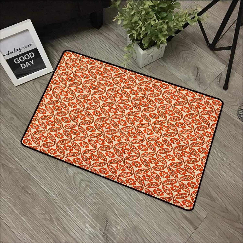 Bathroom Door mat W31 x L47 INCH Geometric,Japanese Classic Floral Motif Interlocking Lattice Circles Pattern Design, Vermilion Cream with Non-Slip Backing Door Mat Carpet