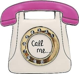 Telephone Shaped Women Retro Cross Body Bag PU Leather Clutch Purse Chain Bag(Black+Pink)
