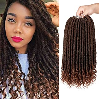 Goddess Faux Locs Crochet Hair 6Pack Straight Hair for Crochet Braids with Curly Ends 16 Inches Synthetic Ombre Crochet Goddess Locs (1b/30#)