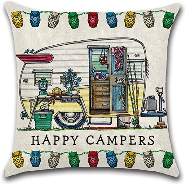 YANGYULU Cute RV Vintage Camper Travel Trailer Cotton Linen Home Decorative Throw Pillow Case Sofa Cushion Cover 18 X 18 STYLY02