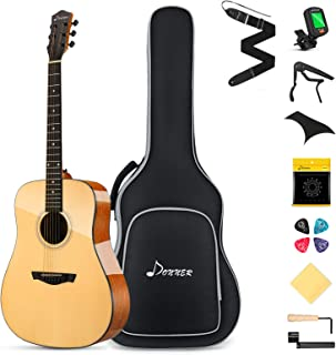 """Donner DAD-812 Solid Top Guitar Acoustic Guitar Full Size، 41 """"Dreadnought Guitar Bundle with Gig Bag Tuner Capo Picks Strap Strand"""
