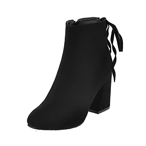AgeeMi Shoes Donna Tacco a Blocco Scarpe a Chiusa Cerniera Inverno Stivali bd95ac27fd4