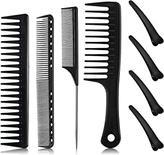 8 Pieces Styling Comb Set Black Carbon Fine Cutting Comb,Tail Comb,Barber Wide Tooth Comb with Hair Clips