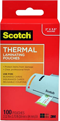 Scotch Thermal Laminating Pouches, 5 Mil Thick for Extra Protection, 2.32 x 3.70-Inches, Business Card Size, 100-Pack...