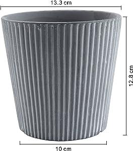 ComSaf Vaso per Pianta Grassa Vaso di Piante con Vassoio di bambù Grigio Ceramica Il Giro Set di 2, Fioriere di Cactus Contenitori Vasi di Fiori Decorativo del Desktop Davanzale Bonsai