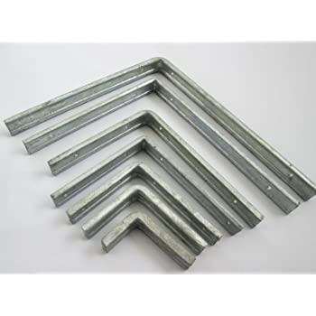 3 x Fluted GALVANISED Angle L Support Brackets 300MM x 250MM 12 x 10 inch