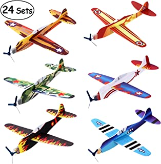 "iBaseToy 24 Pack Flying Glider Plane - 8"" Foam Airplane Toys in 6 Different Designs, Birthday Party Favors, Classroom Rewards, Carnival Prizes for Boys Girls"