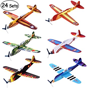 """iBaseToy 24 Pack Flying Glider Plane - 8"""" Foam Airplane Toys in 6 Different Designs, Birthday Party Favors, Classroom..."""