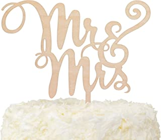 LOVENJOY Gift Box Pack Mr and Mrs Monogram Rustic Wood Wedding Engagement Cake Toppers Decoration (5.9-inch)
