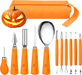 Halloween Pumpkin Carving Kit, FEOAMO 11 Pieces Professional Heavy Duty Stainless Steel Jack O Lanterns Pumpkin Carving Tools Set for Halloween Kids Adults Party Decorations, with Storage Carrying Bag
